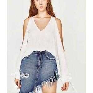 Zara white cold shoulder blouse